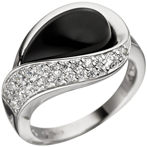 SIGO Damen Ring 925 Sterling Silber mit Zirkonia 1 Onyx schwarz Silberring Onyxring