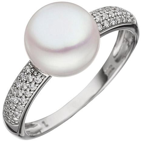 SIGO Damen Ring 333 Gold Weißgold 1 Süßwasser Perle 36 Zirkonia Perlenring Goldring