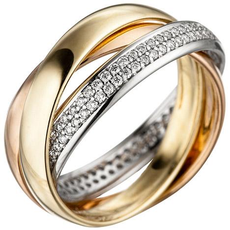 sigo -  Damen Ring 585 Gold tricolor dreifarbig 122 Diamanten Brillanten Goldring