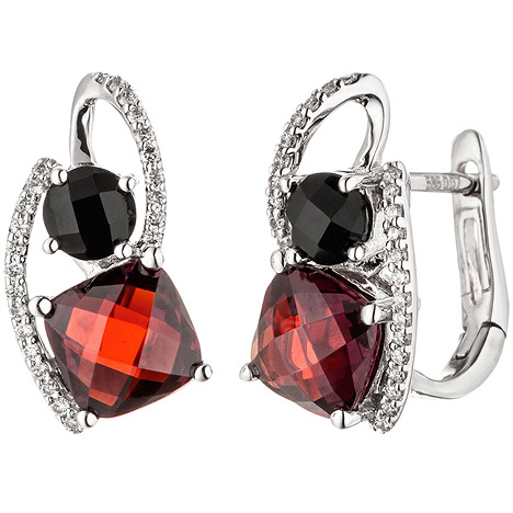 SIGO Creolen 585 Gold Weißgold 48 Diamanten Brillanten 2 Granate rot 2 Onyxe