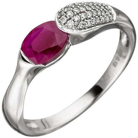 SIGO Damen Ring 585 Gold Weißgold 39 Diamanten Brillanten 1 Rubin rot Rubinring