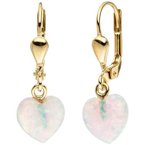 SIGO Ohrhänger Herz 333 Gold Gelbgold 2 Opale Ohrringe Goldohrringe Opalohrringe