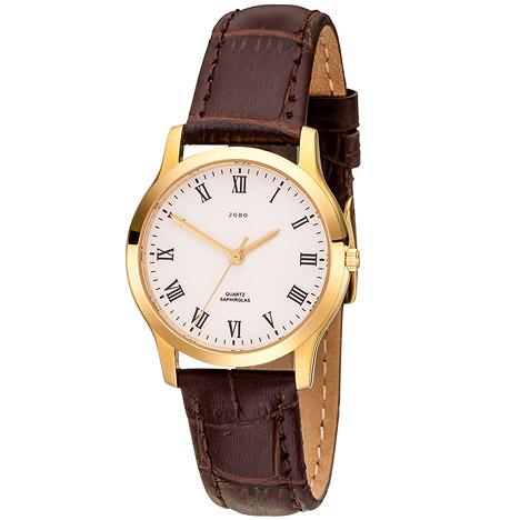 Uhren - JOBO Damen Armbanduhr Quarz Analog Edelstahl gold vergoldet Leder Damenuhr  - Onlineshop Goettgen