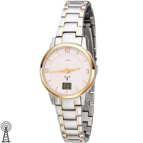 Uhren - JOBO Damen Armbanduhr Funk Funkuhr Edelstahl bicolor vergoldet Damenuhr Datum  - Onlineshop Goettgen