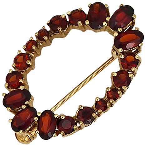 Broschen für Frauen - SIGO Brosche Granat 375 Gold Gelbgold 18 Granate rot Goldbrosche Granatschmuck  - Onlineshop Goettgen