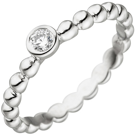 SIGO Damen Ring Kugel 925 Sterling Silber 1 Zirkonia Kugelring Silberring