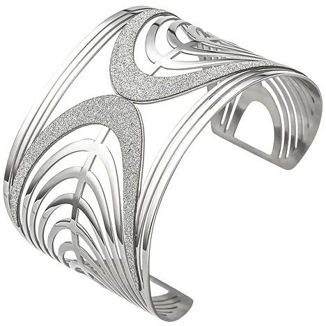 Armbaender - SIGO Armspange offener Armreif aus Edelstahl mit Glitzereffekt Armband breit  - Onlineshop Goettgen