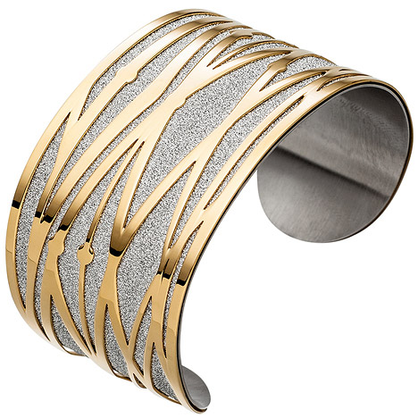 Armbaender - SIGO Armspange offener Armreif Edelstahl breit gelbgold farben beschichtet Armband  - Onlineshop Goettgen