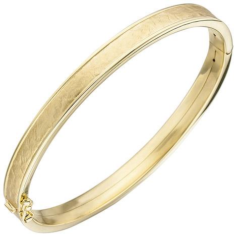 SIGO Armreif Armband oval 375 Gold Gelbgold teil matt Goldarmband Goldarmreif