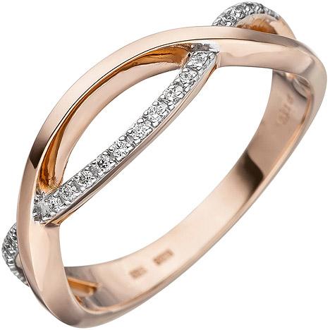 sigo -  Damen Ring 585 Gold Rotgold 20 Diamanten Brillanten Diamantring