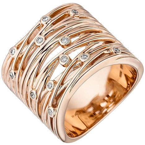sigo -  Damen Ring breit 585 Gold Rotgold 12 Diamanten Brillanten 0,14ct. Rotgoldring