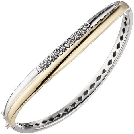 Armbaender - SIGO Armreif Armband 585 Gold Gelbgold Weißgold bicolor 55 Diamanten Brillanten  - Onlineshop Goettgen