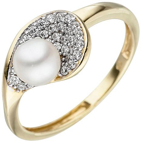 SIGO Damen Ring 375 Gold Gelbgold 1 Süßwasser Perle 36 Zirkonia Perlenring