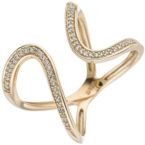 SIGO Damen Ring 585 Gold Gelbgold 55 Diamanten Brillanten Goldring Diamantring