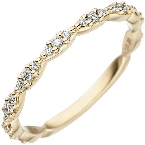 SIGO Damen Ring 585 Gold Gelbgold 27 Diamanten Brillanten Goldring Diamantring