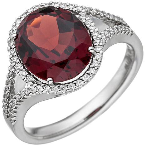 sigo -  Damen Ring 585 Gold Weißgold 1 Granat rot 66 Diamanten Brillanten Granatring