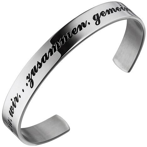Armbaender - SIGO Armspange offener Armreif aus Edelstahl Armband ich du wir  - Onlineshop Goettgen