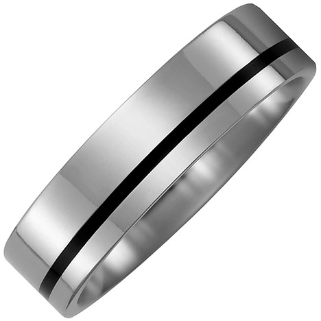sigo -  Partner Ring aus Titan mit Keramik schwarz Partnerring bicolor