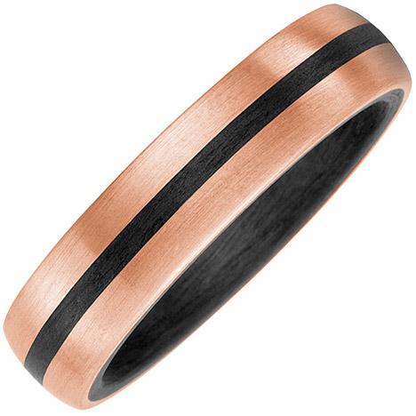 sigo -  Partner Ring Carbon mit 585 Gold Rotgold matt Partnerring