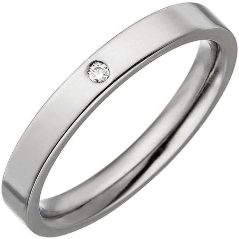 sigo -  Partner Ring schmal aus Titan 1 Diamant Brillant Partnerring Titanring