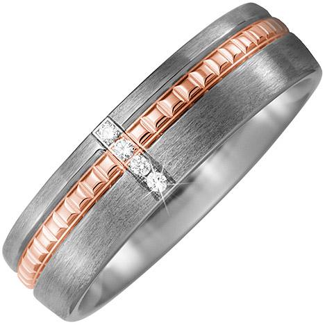 sigo -  Partner Ring Titan matt mit 750 Rotgold 4 Diamanten Brillanten Partnerring