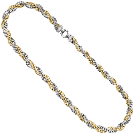 SIGO Collier Halskette 375 Gold Weißgold Gelbgold bicolor 48 cm Kette Goldkette