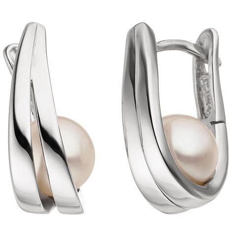 Ohrringe - SIGO Creolen 925 Sterling Silber 2 Süßwasser Perlen Ohrringe Perlenohrringe  - Onlineshop Goettgen