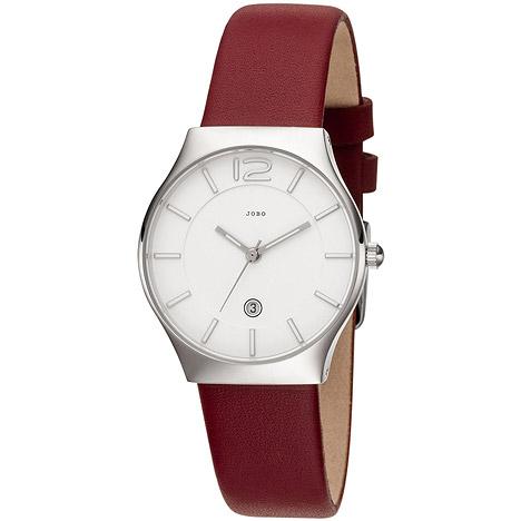 Uhren - JOBO Damen Armbanduhr Quarz Analog Edelstahl Lederband rot Datum Damenuhr  - Onlineshop Goettgen