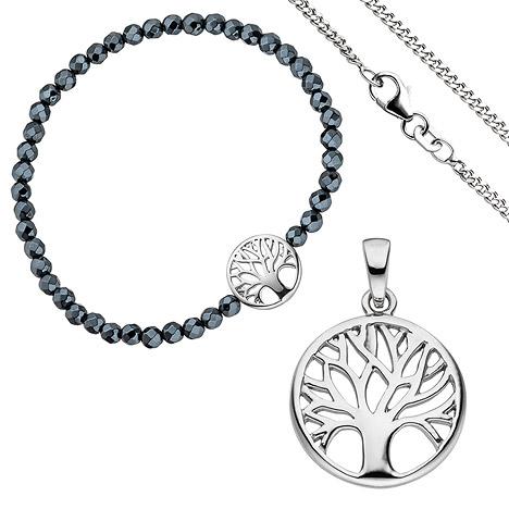 Schmucksets - SIGO Schmuck Set Baum Lebensbaum Weltenbaum 925 Silber Armband Anhänger Kette 38 cm  - Onlineshop Goettgen