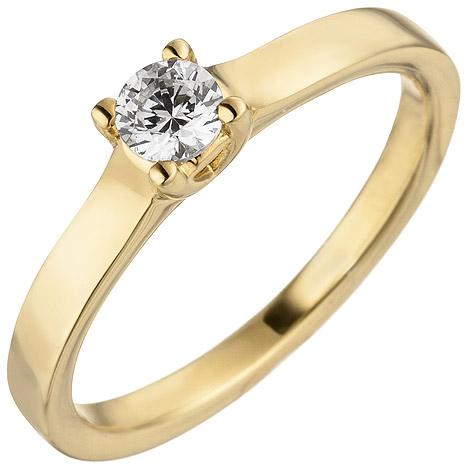 sigo -  Damen Ring 585 Gold Gelbgold 1 Diamant Brillant 0,25 ct. Diamantring Solitär