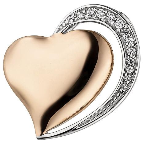 SIGO Anhänger Herz 925 Sterling Silber bicolor vergoldet 13 Zirkonia Herzanhänger