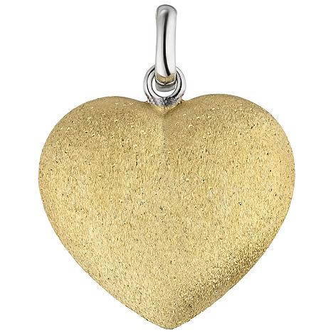 SIGO Anhänger Herz 925 Sterling Silber bicolor vergoldet eismatt Herzanhänger