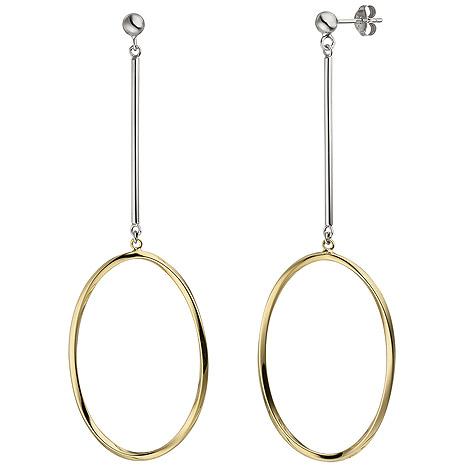 SIGO Ohrhänger lang 925 Silber bicolor vergoldet Ohrringe Ohrstecker