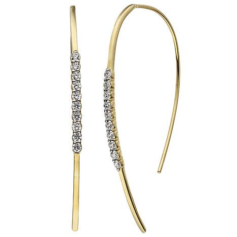 SIGO Ohrhänger Ohrhaken 925 Sterling Silber gold vergoldet 20 Zirkonia Ohrringe