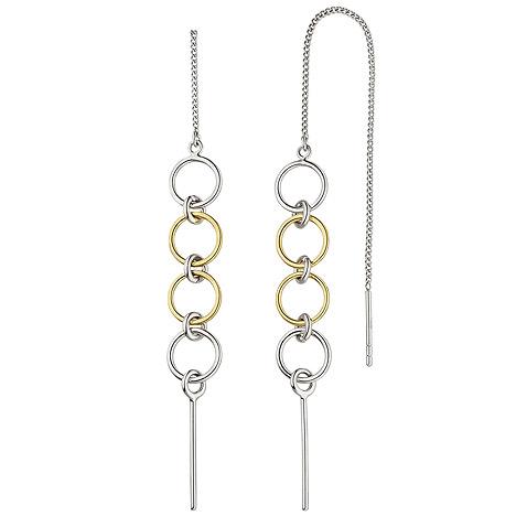 SIGO Durchzieh-Ohrhänger lang 925 Sterling Silber bicolor Ohrringe zum Durchziehen