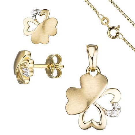 Schmucksets - SIGO Schmuck Set Kleeblatt 333 Gold Gelbgold 7 Zirkonia Ohrringe und Kette 45 cm  - Onlineshop Goettgen
