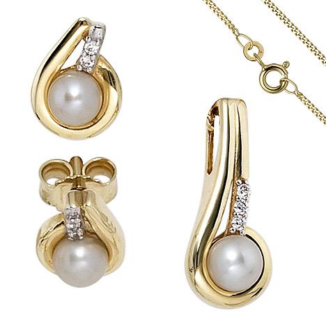 Schmucksets - SIGO Schmuck Set 333 Gold Gelbgold Perlen Zirkonia Ohrringe und Kette 42 cm  - Onlineshop Goettgen