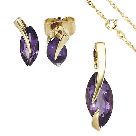 Schmucksets - SIGO Schmuck Set 585 Gold Gelbgold 3 Amethyste lila violett Ohrringe und Kette 42 cm  - Onlineshop Goettgen