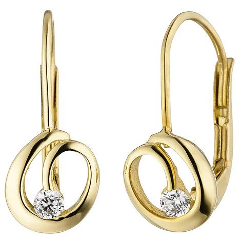 Ohrringe - SIGO Ohrhänger 333 Gold Gelbgold 2 Zirkonia Ohrringe Boutons Goldohrringe  - Onlineshop Goettgen