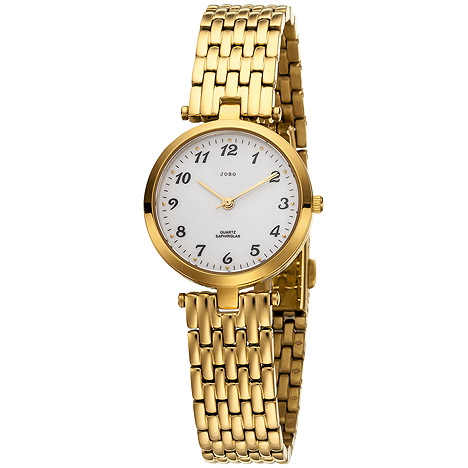 Uhren - JOBO Damen Armbanduhr Quarz Analog Edelstahl vergoldet  - Onlineshop Goettgen