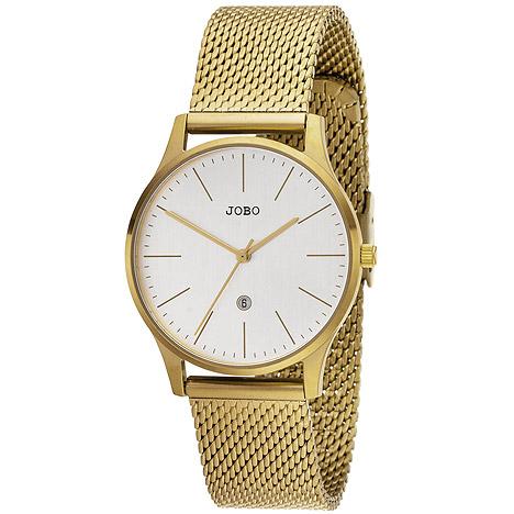Uhren - JOBO Damen Armbanduhr Quarz Analog Edelstahl vergoldet Datum Damenuhr  - Onlineshop Goettgen