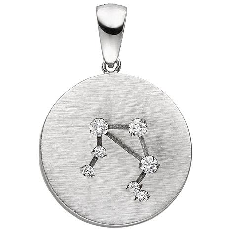 SIGO Anhänger Sternzeichen Waage 925 Sterling Silber matt 7 Zirkonia Silberanhäng