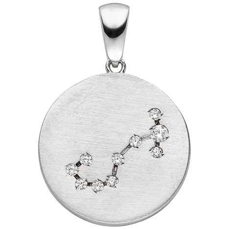 SIGO Anhänger Sternzeichen Skorpion 925 Sterling Silber matt 10 Zirkonia Silberan