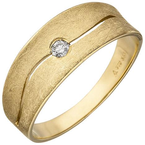 SIGO Damen Ring 585 Gold Gelbgold eismatt 1 Diamant Brillant 0,06ct. Diamantring