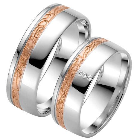 LOVE by Goettgen Trauringe Paar, Weiss/Rosé 333 Gold u. 500 Palladium, Eheringe, bei Damenring inkl. 3 Brillanten