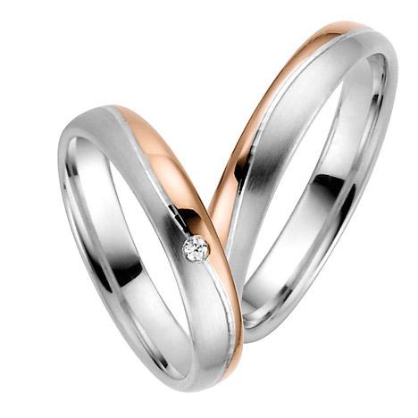 LOVE by Goettgen Trauringe Paar, Weiss/Rosé 333 Gold u. 500 Palladium, Eheringe, bei Damenring inkl. 1 Brillant