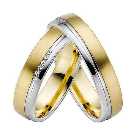 LOVE by Goettgen Trauringe Paar, Gelb/Weiss 333 Gold u. 500 Palladium, Eheringe, bei Damenring inkl. 7 Brillanten