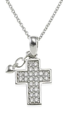 XENOX Collier Kreuz 925 Silber Zirkonia 40-45 cm