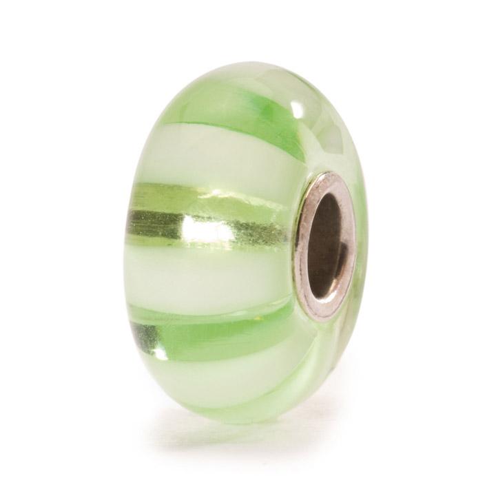 Bead 925 Silber Hellgrüne Streifen