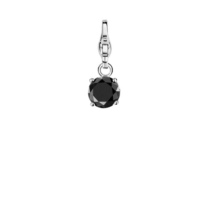Charm 925 Silber Brilliant Black
